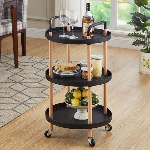 Plastic Round Storage Utility Rolling Cart Kitchen Rack Trolley