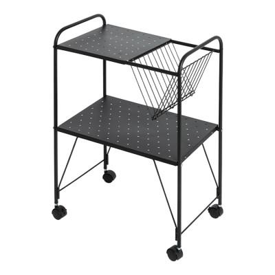 Amazon 2020 Two-tier Cart with Wheels Storage Non-folding Utility Trolley Cart Kitchen Utility Cart