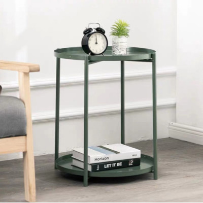 Round Double-layer Tray Table Metal Detachable Side Table for Living Room Modern