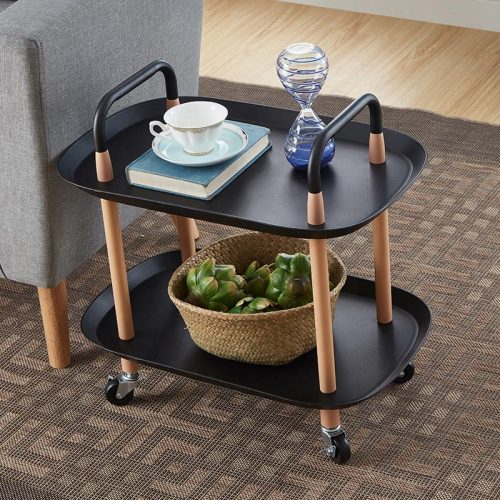 Rolling Trolley Organizer Rack 2 Tiers Storage Holder for Living room