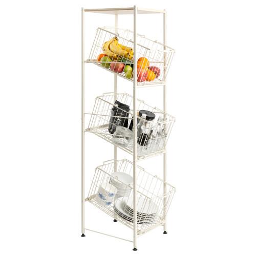 3 Layers Standing Living Room Kitchen Vegetables Sundries Shelving Rack Storage Baskets Organizer