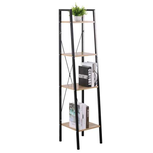Modern Antique 4 Tier Metal Standing Bookcase Decorative Industrial Wood Ladder Book Shelf for Living Room