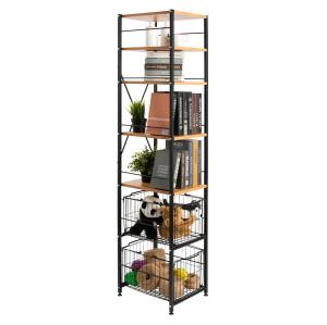 Modern 6-Layer Kitchen Storage Shelving Rack With Drawer Basket Design