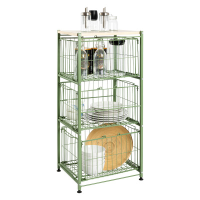 Modern Metal Wire 3 Layers Standing Storage Shelves with 3. Baskets