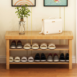 Multi-functional 2-Tier Combo Home Storage Bamboo Shoe Rack Storage Wooden Shoe Rack