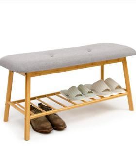 Eco-friendly Bamboo Shoe Bench Indoor Outdoor Bamboo Bench Storage Shoe Changing Stool Bamboo Shoe Bench For Entrance