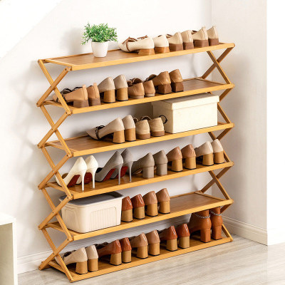 Multi-functional Home Storage Simple Trending Shoes Rack Folding Foldable Wooden Shoe Rack