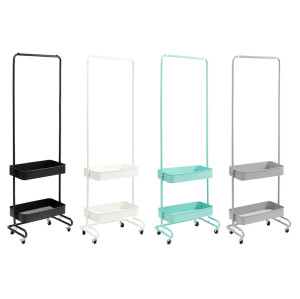 2020 Wholesale Adjustable Height 2-Tier Basket Clothing Rack With Wheels