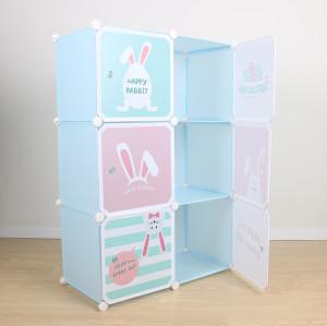 6-Cube Closet Kid Furniture Storage Organizer DIY Display Rack Cabinet Kids Plastic Wardrobe