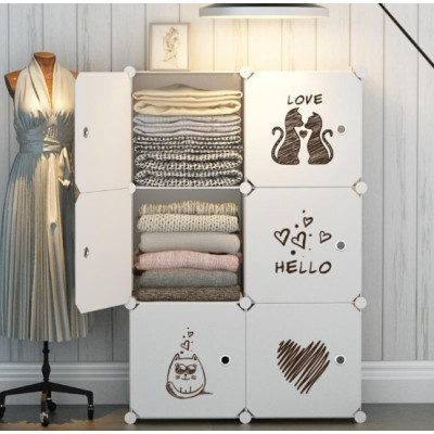 6-Cube Bedroom Modern Furniture Plastic Dress Cabinet Wardrobe Storage Rack for Toys Baby cupboard Wardrobes