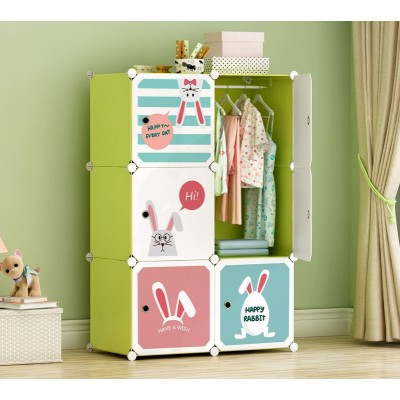 6-Cube Closet Storage Shelves Cubes Organizer DIY Plastic Closet Cabinet Modular Plastic Shelves Storage