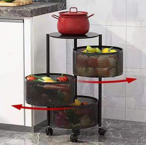 Kitchen Vegetable Storage Baskets Rotating Basket Rack Wire Baskets For Storage