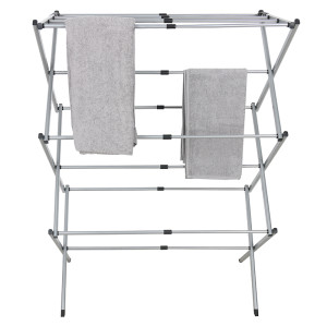 Multifunctional 3 Tier Towel Metal Rack Extendable Dryer Airer 3 Tier Foldable Clothes Airer
