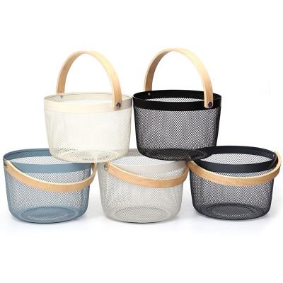 Modern Home Mesh Storage Basket Simple Iron Basket With Wooden Handles Wire Round Baskets