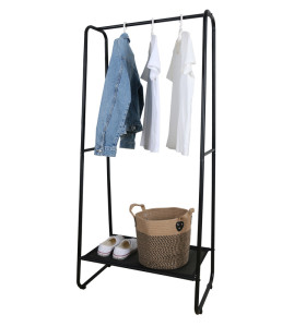 Home Black Clothes Stand Hanger Metal Clothing Rack With Non-woven Fabric Storage
