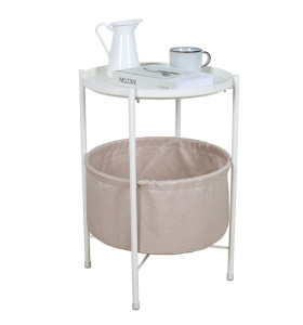 Living Room Furniture With Cloth Bag White End Table Metal Foldable Tray Coffee+Tables