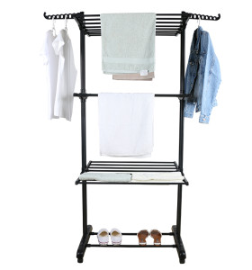 4 Tiers Indoor Outdoor Foldable Standing Stainless Steel Clothes Laundry Drying Racks With Wheels
