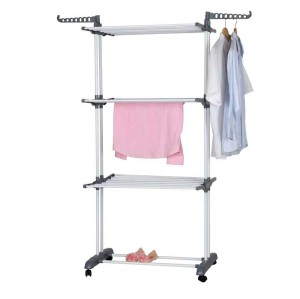 Stand 4 Tiers Balcony Foldable Powder Coating Clothes Rack With Wheels