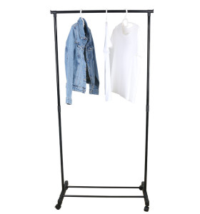 Single Pole Iron Pipe Balcony Clothes Drying Rack Garment Hanger Wheel Coat Rack