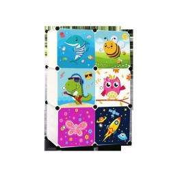 6 Cube Cartoon Plastic Wardrobe for kids
