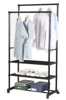 Adjustable Rolling Double Clothes Rack With Three Shelf