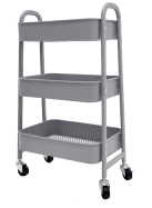 3 Tier Metal Movable Serving Trolley Cart with Handle