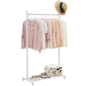 Coat Rack Rolling Garment Rack with Bottom Shelves