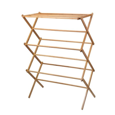 Amazon Bamboo Folding Retractable Domestic Towel Rack Clothes Drying Rack