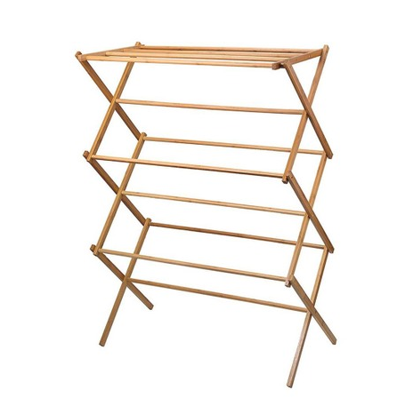 Amazon Bamboo Folding Retractable Domestic Towel Rack Clothes Drying Rack