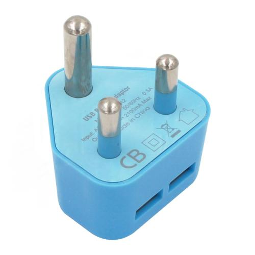 Blue 2 Dual USB port 5V 2.1A South Africa USB charger adapter