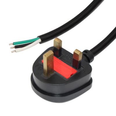 Standard UK Computer Power Cord 10A stripped and tinned to BS-1363 UK Plug