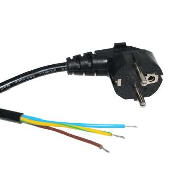 European Extension Standard AC Eu 3 Pin Plug to Stripped and Tinned Power Cord