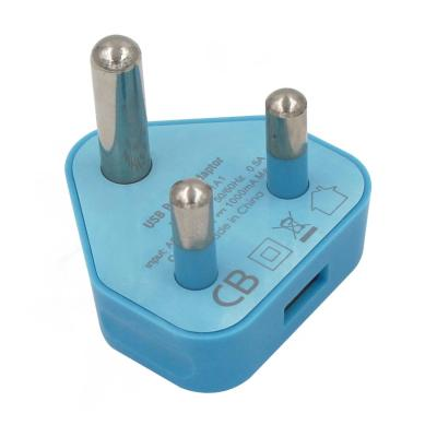 Blue 1 single USB port 5V 1A 1000mA South Africa USB charger adapter