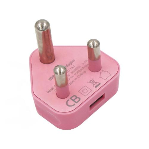 Pink 1 single USB port 5V 1A 1000mA USB charger adapter for South Africa