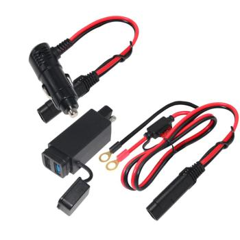 5v 9V 12V 24v 2A Black Quick Charge Dual USB to SAE Charger Adapter for Charging GPS Smartphone Cell Phone