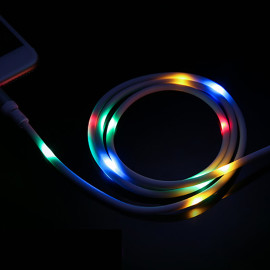 LED Flow Glow Type-c Micro usb Cable Wire 2.4A Quick Charge Charger Charging Data Cable For Phone
