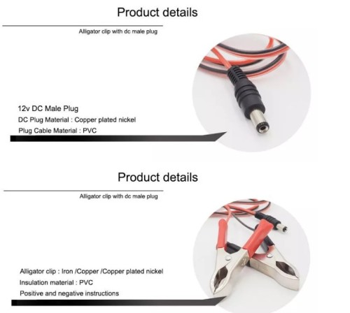 3.5 1.35 mm DC Male Plug to Dual Alligator Clip Power Charger Connector Cable