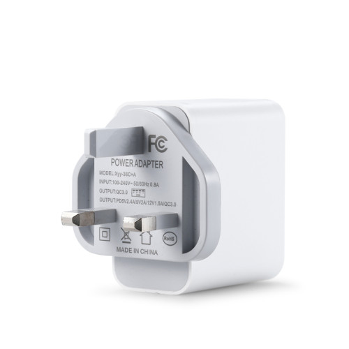 18W Quick Charge 3.0 Wall Charger Dual USB Plug Phone Charger USB C Wall Charger UK Power Plug