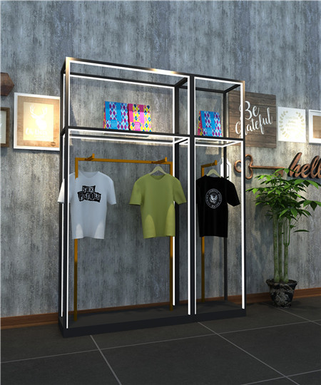 High end custom clothes  display racks for clothing  color lamp with decoration.