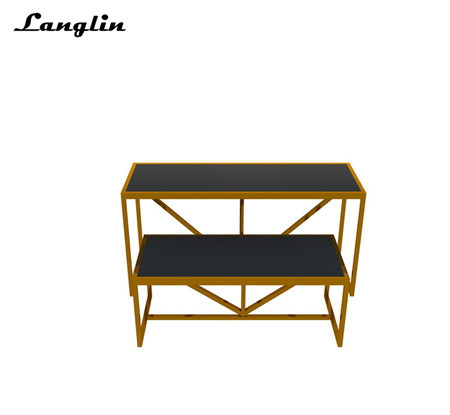 Stainless steel rose gold floor clothes shop display stand