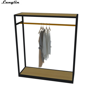 Metal and wood clothing display for men's clothing store
