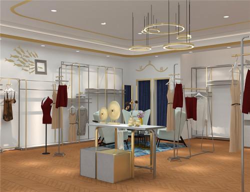 Rose Gold mental garment display racks for clothing shop display