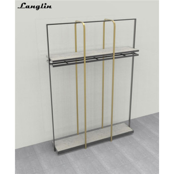 Custom Good quality metal hanging clothes display racks for garment shop