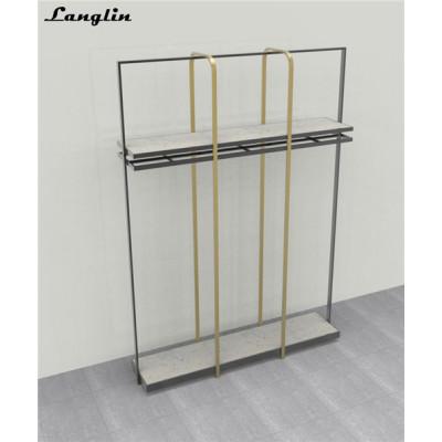 Custom Good quality metal hanging clothes display racks for garment shop