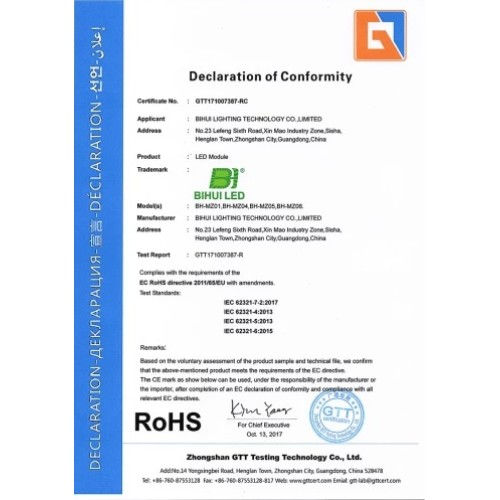 Certificado RoHS
