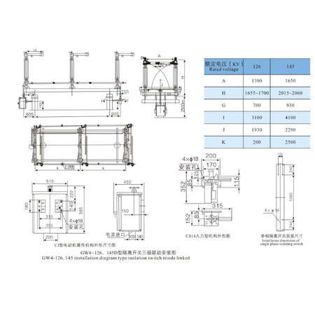 Disconnecting Switch GW4 (2) series outdoor HV From Jucro Electric