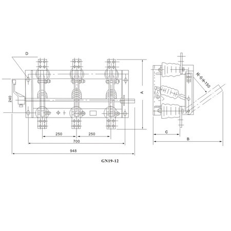 Disconnecting Switch Isolation Switch GN19-12(C)  series indoor High Voltage From Jucro Electric