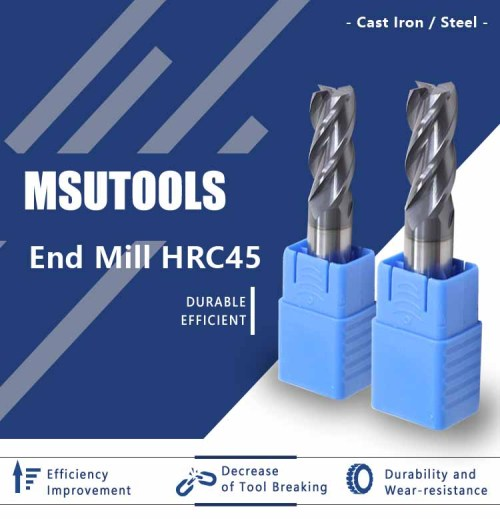 End Mill Carbide (TiAlN) coated For General Purpose Milling 45 Degree
