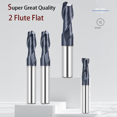 2 Flute Flat Milling Cutter Carbide End Mill For Side and Face Milling