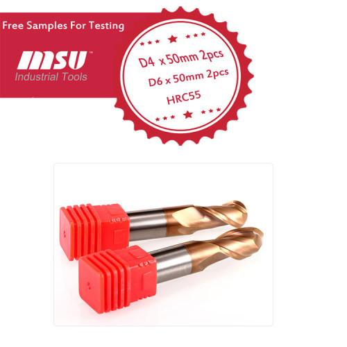 High Precision 2 F Carbide Ball Nose End Mill For Steel